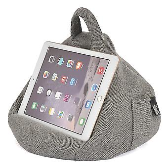 iBeani iPad, Tablet & eReader Bean Bag Stand / Cushion - Herringbone Grey