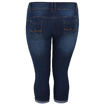 Indigo blå dongeri beskjæres SHAPER Jeans