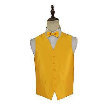 Solid Check Sunflower Gold Wedding Waistcoat & Bow Tie Set