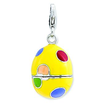 Sterling Silver 3-d Enameled Egg With Lobster Clasp Charm - 5.6 Grams