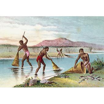 Indigènes de pêche sur le lac Malawi Aka lac Nyassa au Mozambique, l'Afrique au XIXe siècle de la vie et les Explorations du Dr Livingstone a publié C1875 PosterPrint