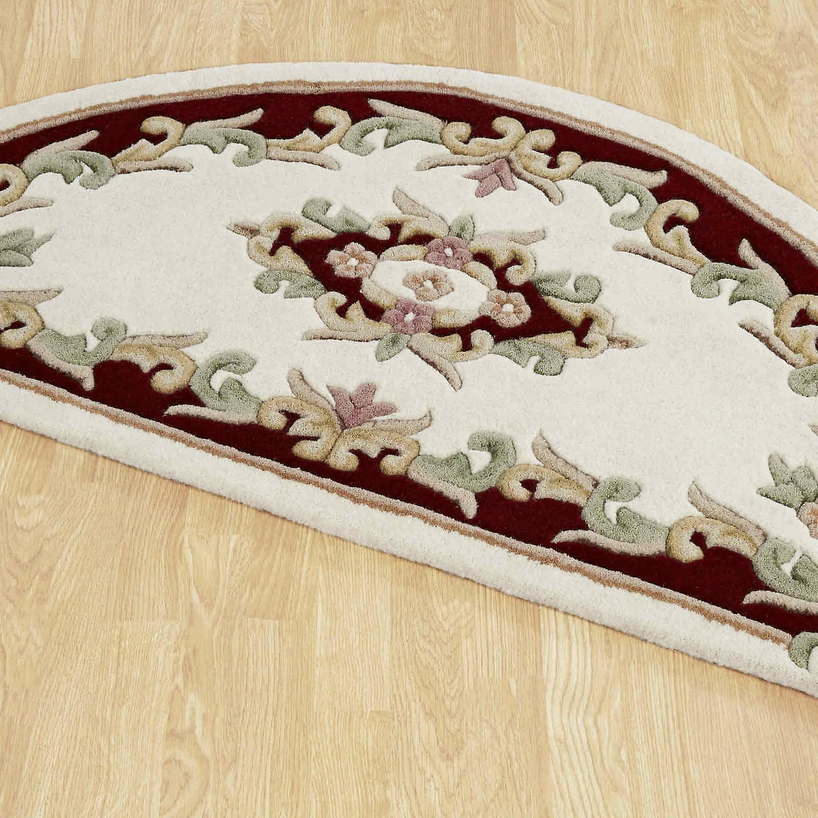 Royal Aubusson Half Moon Rugs In Cream Red