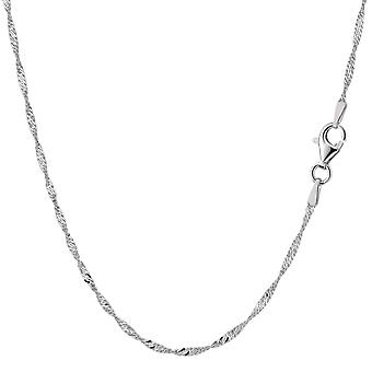 Sterling zilveren Rhodium Plated Singapore Chain ketting, 1,6 mm