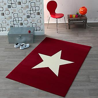 Design velour carpet star red 140 x 200 cm | 102199