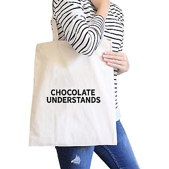 Chocolate Understands Natural Canvas Bag Holiday Gifts Tote Bags