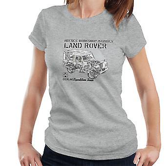 Haynes eiere Workshop manuell Land Rover Mountain svart kvinner t-skjorte