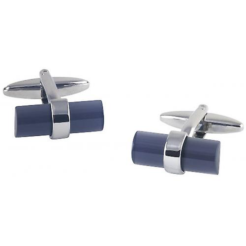 David Van Hagen Barrel Cats Eye Cufflinks - Silver/Black