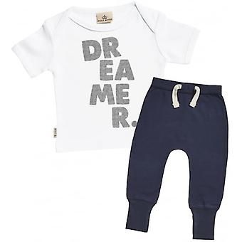 Spoilt Rotten Dreamer. Baby T-Shirt & Navy Joggers Outfit Set