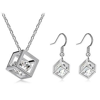SILVER CRYSTALS IN A CUBE NECKLACE AND EARRINGS SET