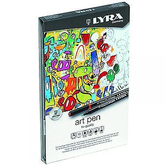 Lyra Hi-Quality Art pennen Tin van 10 geassorteerde kleuren