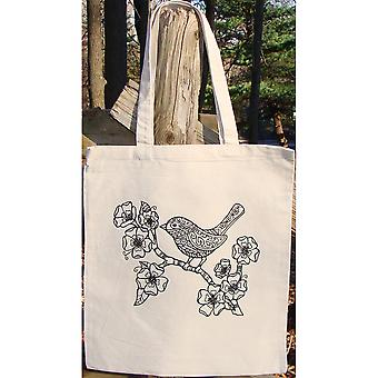 Stamped Canvas Tote To Color-Bird 98116T