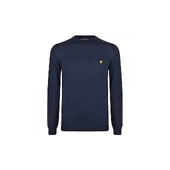 Lyle & Scott Kn400v Crew Neck Fine Knit Cotton Navy Jumper