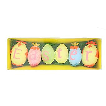 Set of 6 Decorated Easter Foam Eggs with Decorative Grass Home Easter Decoration