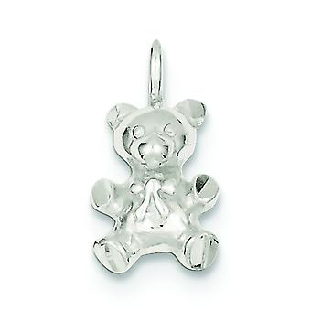 925 Sterling Silber solid poliert Sparkle-Cut Teddybär Charme - 2,8 Gramm