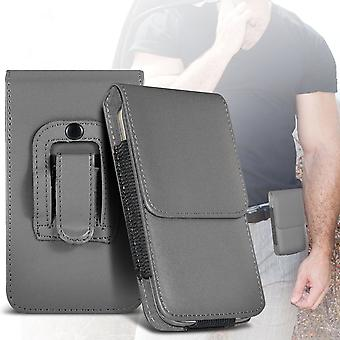 ONX3 (Grey)  Premium Vertical Faux Leather Belt Holster Pouch Cover Case With Magnetic Closure For Huawei P10 Lite
