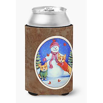 Carolines Treasures  7048CC Snowman with Corgi Can or Bottle Hugger