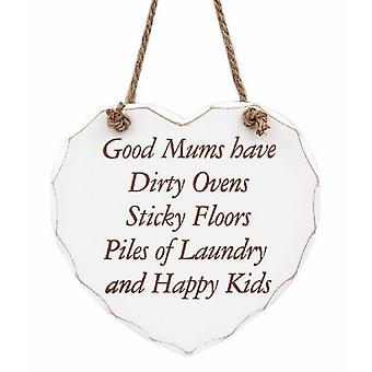 Heart Shaped Good Mums Hanging Wall Plaque