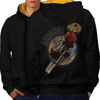 Robot Space Geek Men Black (Gold Hood)Contrast Hoodie Back | Wellcoda