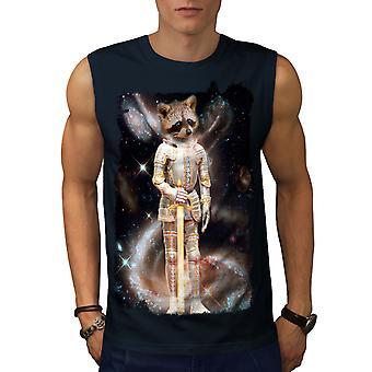 Racoon Hero Space Animal Men NavySleeveless T-shirt | Wellcoda