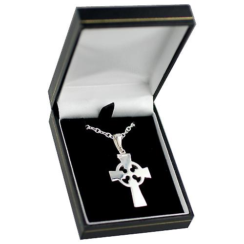 Silver 35x24mm hand engraved knot pattern Celtic Cross with bail on a cable Chain 20 inches