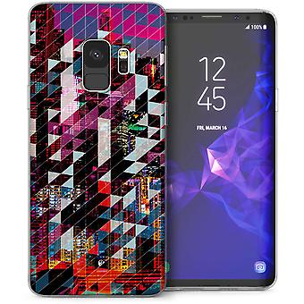 Samsung Galaxy S9 Digital City Skyline TPU Gel caso - rosa