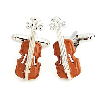 Braune Geige Neuheit Manschettenknöpfe Hochzeit Geschenk intelligentes Musiker Musikwiedergabe