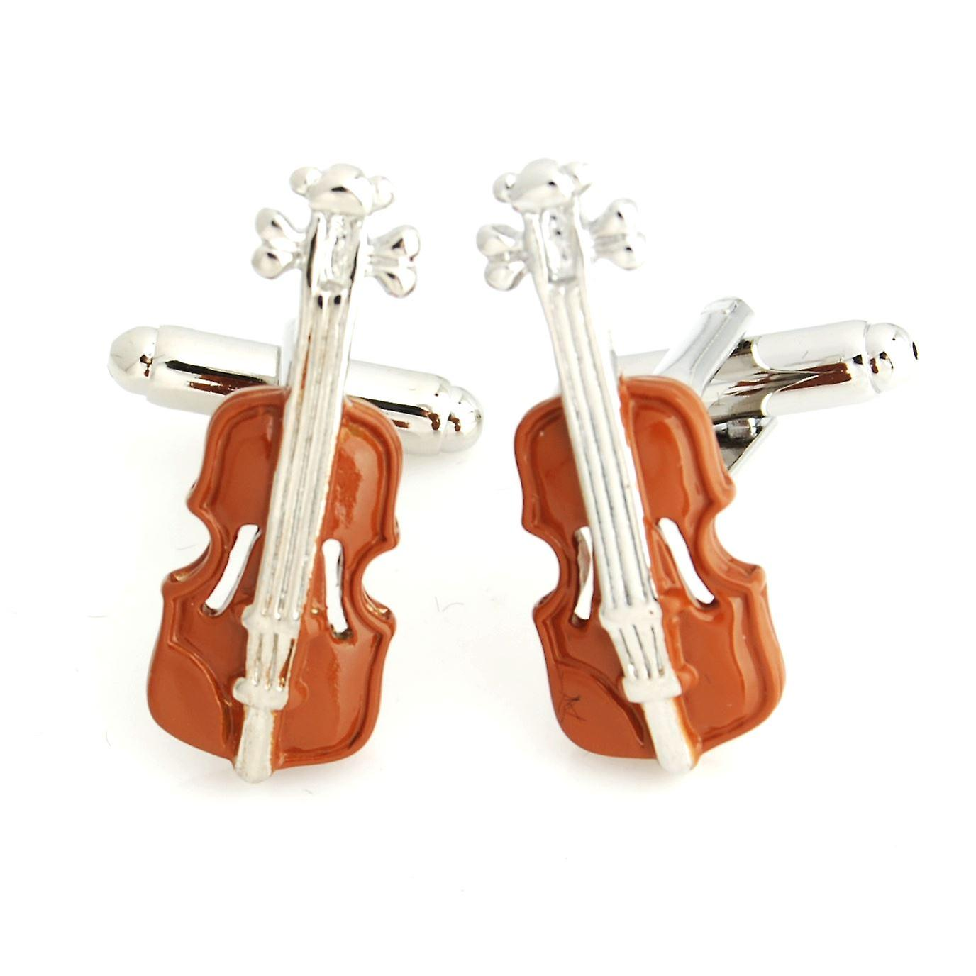 Music Brown Violin Novelty Cufflinks Wedding Gift Smart Musician Play