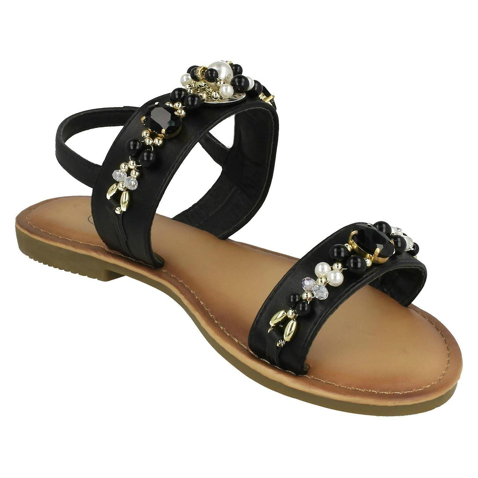 Pearl Jewelled On Spot Ladies Slingback Sandals F00116 RqC6R