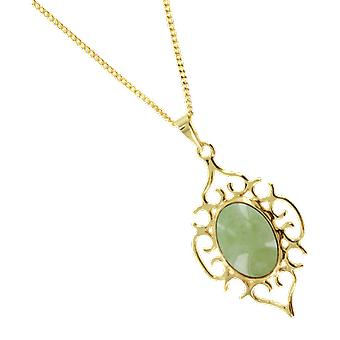 Shipton and Co Ladies Shipton And Co Exclusive 9ct Yellow Gold And Green Jade & Jadeite Pendant Including A 16 9ct Chain PY1405GJ