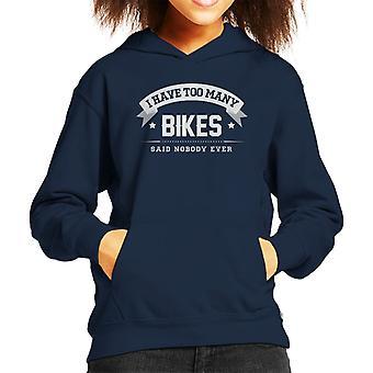 Ho troppi biciclette ha detto nessuno mai felpa con cappuccio bambino