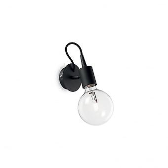 Ideal Lux Edison Quirky Black Reading Spot Light With Open Bulb