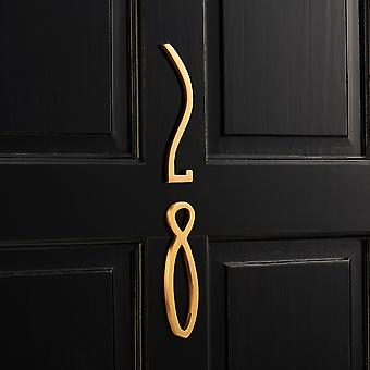 Art Deco Brushed Brass Gold House Door Numbers & Letters