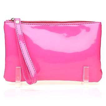 CHEEKY Fuchsia Pink Patent PU Leather Clutch Bag/Purse With Wrist Strap