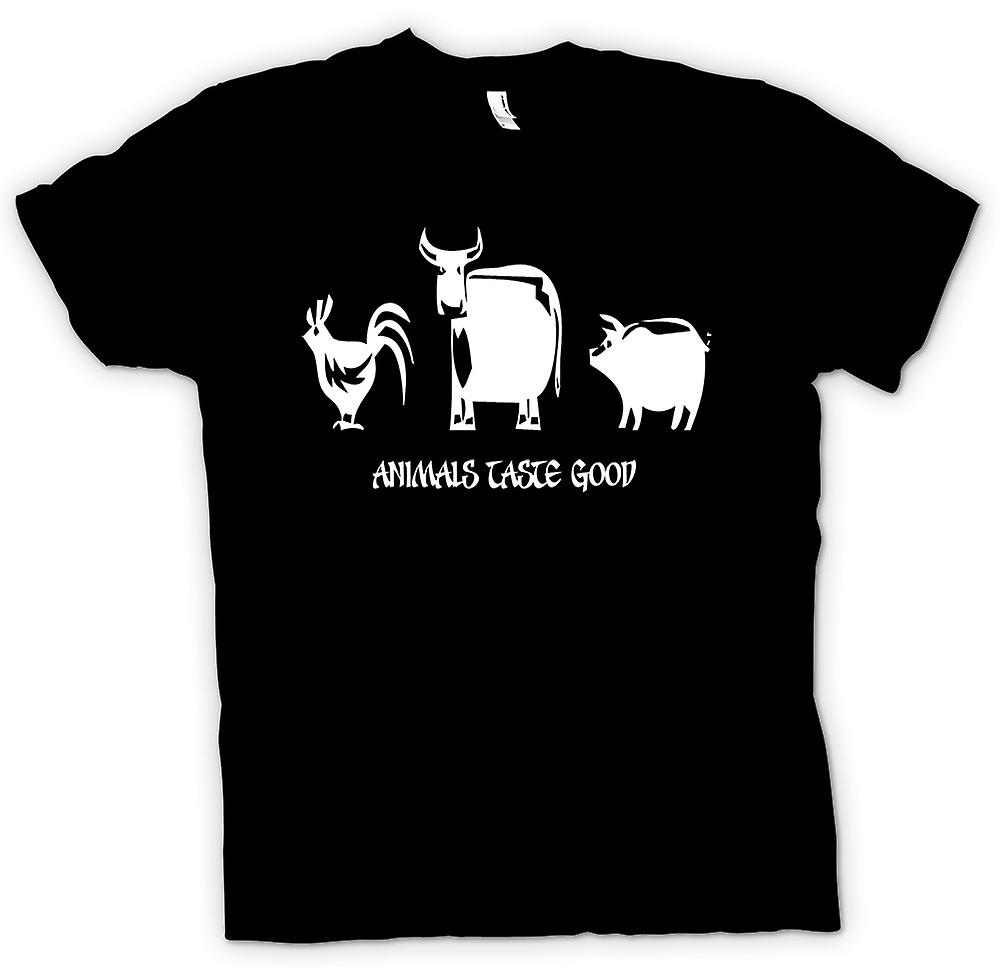 Mens T-shirt - Animals taste good - Quote