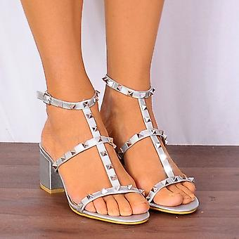 Shoe Closet Ladies FRR30 Silver Studs Studded Peep Toes Strappy Sandals High Heels