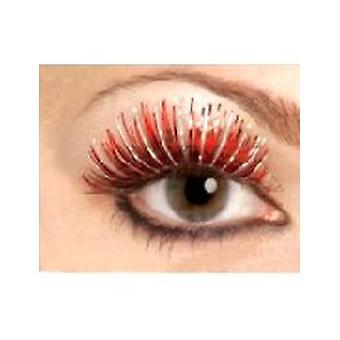 Metallisk øjenvipper - rød og sølv - indeholder lim
