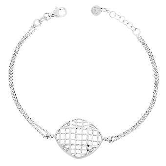 Orphelia Silver 925 Bracelet Double Chain Oval Charm  ZA-7190