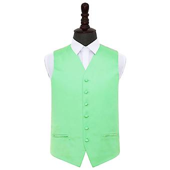Mint Green Plain Satin Wedding Waistcoat