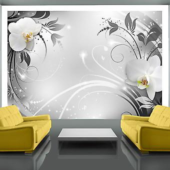 Wallpaper - Orchids on silver
