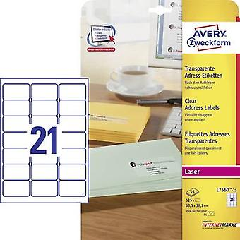 Avery-Zweckform Address labels, All-purpose labels L7560-25 63.5 x 38.1 mm Polyester film Transparent 525 pc(s)