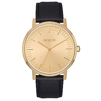 Nixon The Porter Leather Watch - Black/Gold