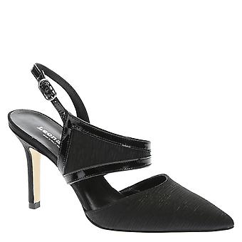 Black pleated satin and kid leather ankle strap pumps