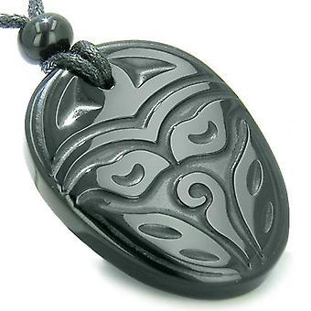 Amulet gamle tibetanske Buddha ser alt tredje visdom øye Onyx ProtectiPendant halskjede
