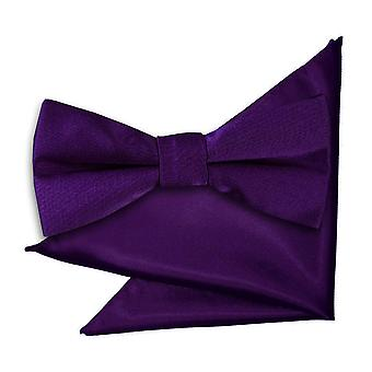 Purple Plain Satin Bow Tie & Pocket Square Set for Boys
