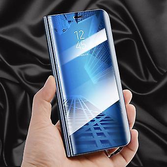 Für Huawei Y5 2018 Clear View Spiegel Mirror Smartcover Blau Schutzhülle Cover Etui Tasche Hülle Neu Case Wake UP Funktion
