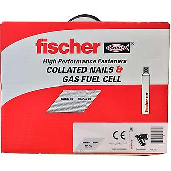 Fischer 75mm Collated Ring Shank Nails & 2 Gas Fuel Cells Galv ( 2200)