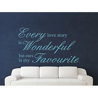 Every Love Story Is Wonderful Wall Art Sticker - Arctic Blue