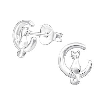 Cat - 925 Sterling Silver Plain Ear Studs - W37500x