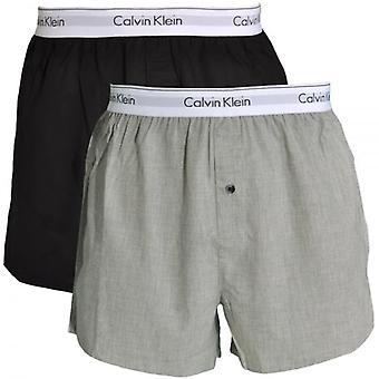 Calvin Klein Modern Cotton Slim Fit Woven Boxer 2-Pack, Black / Heather Grey, Small