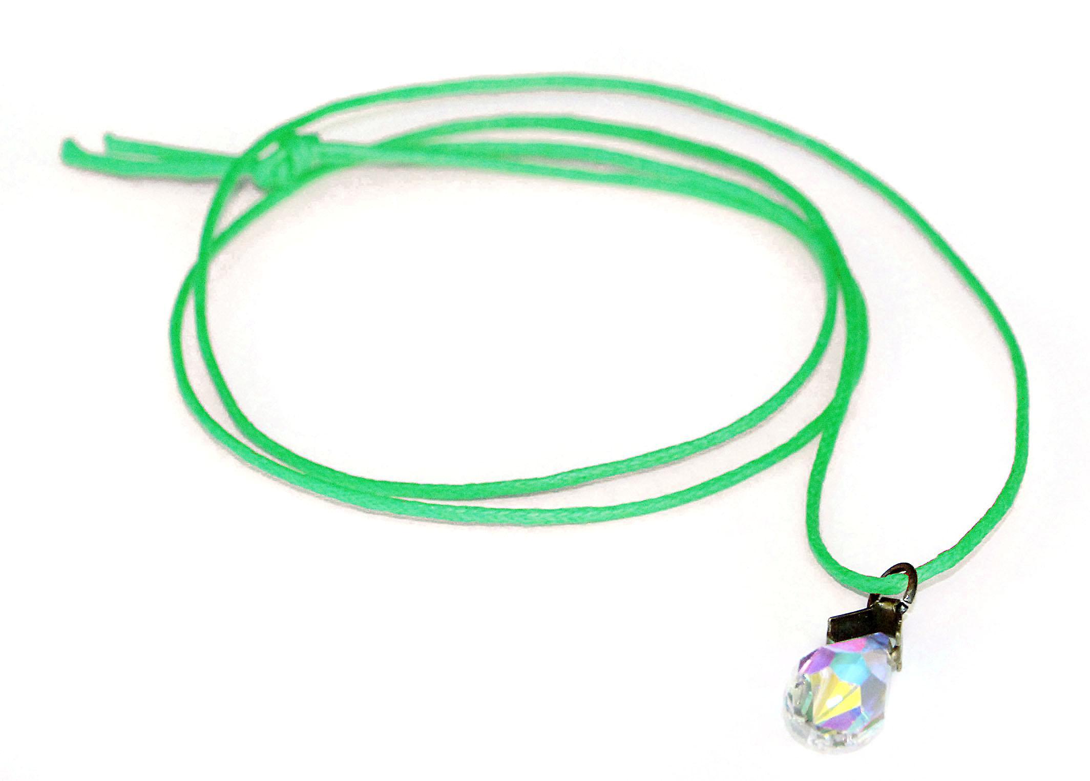 Waooh - smycken - Swarovski / hänge släppa pärla blå reflektion och vaxad sladd